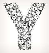 Letter Y on Time and Clock Vector Icon Pattern