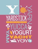 Letter Y poster. Illustrations and words that start with Y.