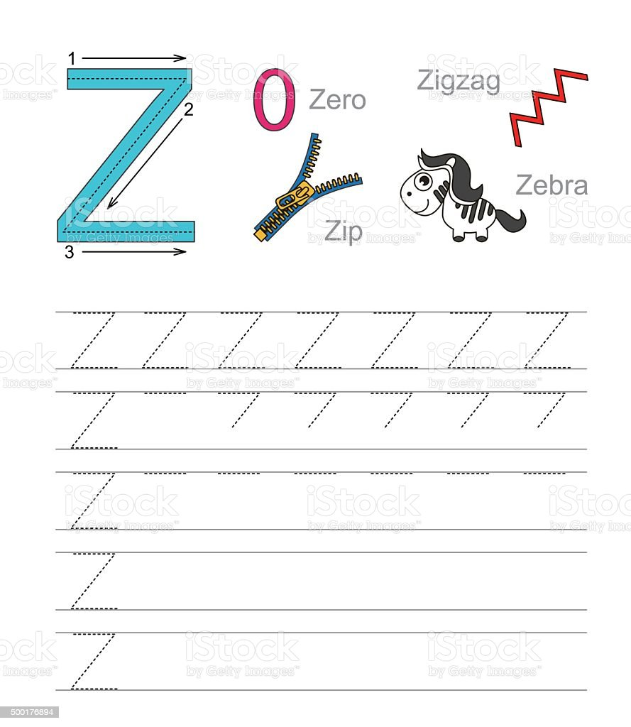 Worksheet Learn Handwriting letter z learn handwriting stock vector art 500176894 istock royalty free art