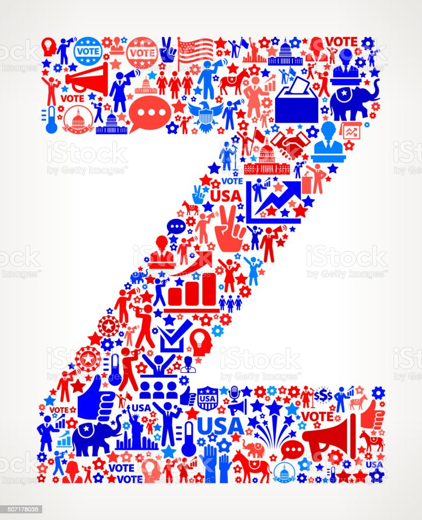 Letter z Vote and Elections USA Patriotic Icon Pattern vector art illustration