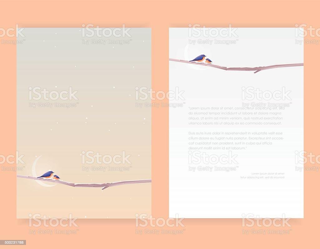 Letterhead template mockups with beautiful minimal design with bluebirds vector art illustration