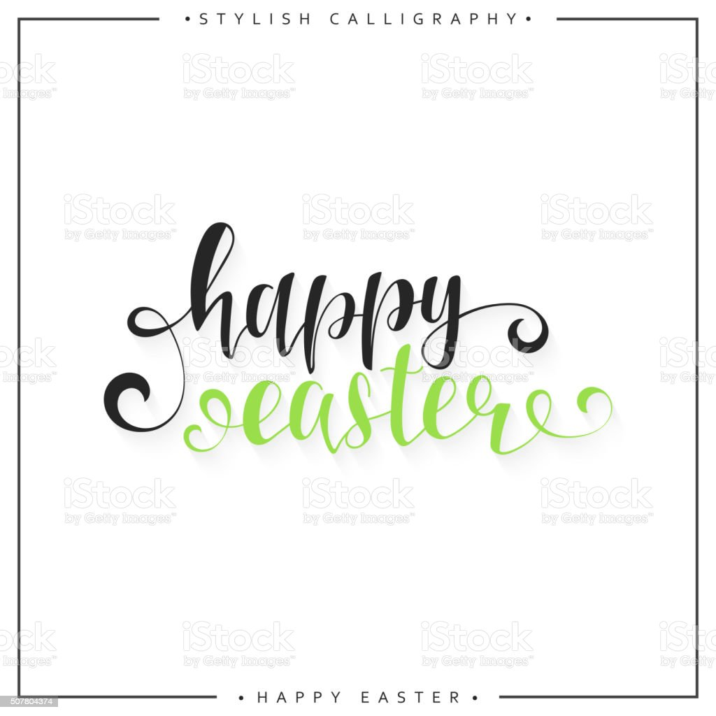 Lettering calligraphy set happy easter day modern