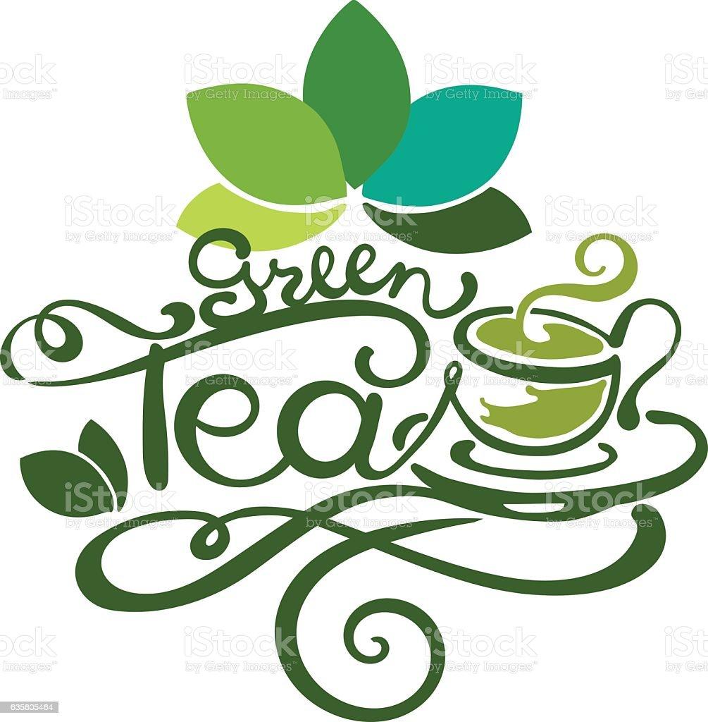 Lettering - Green Tea vector art illustration