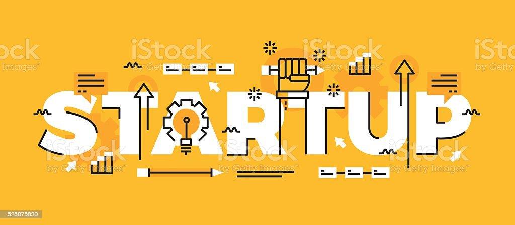 Lettering line design Concept of Startup vector art illustration