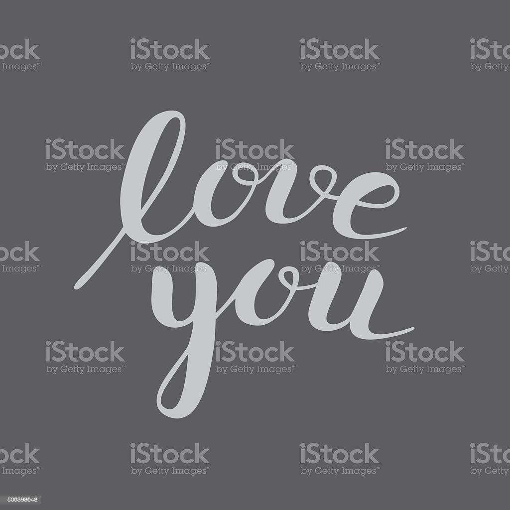 Lettering 'Love you' vector art illustration