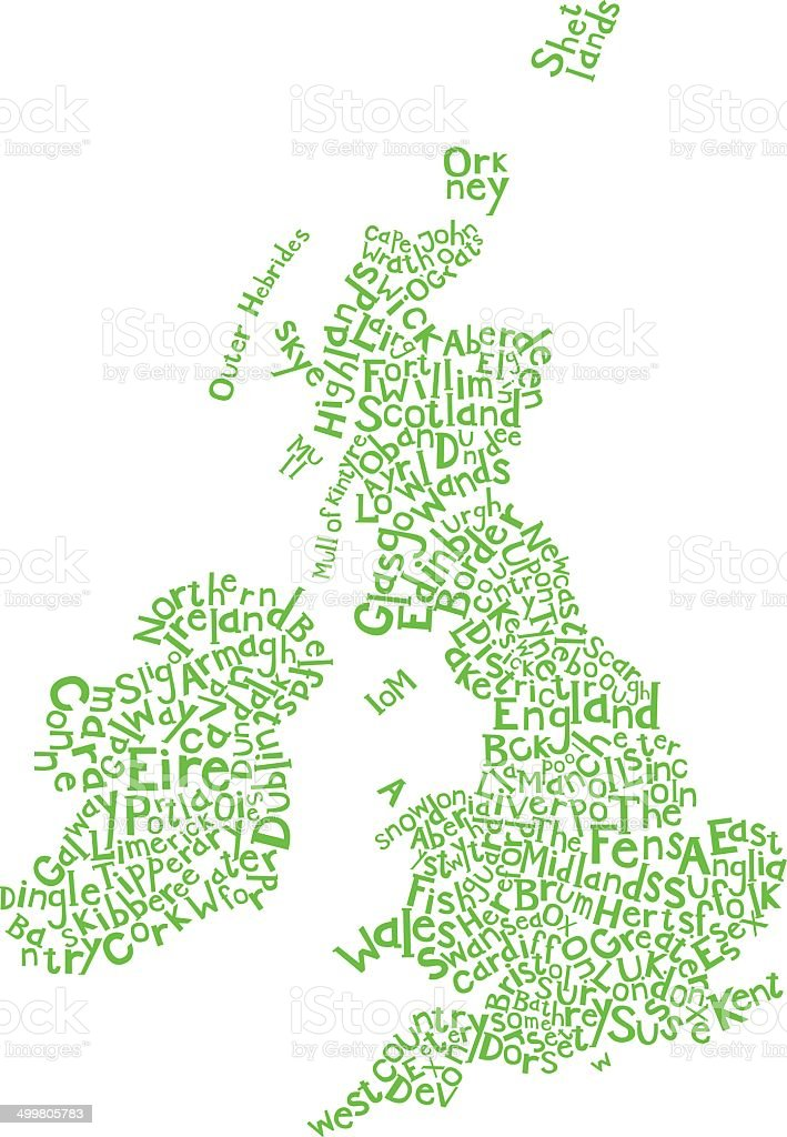 UK lettering map royalty-free stock vector art