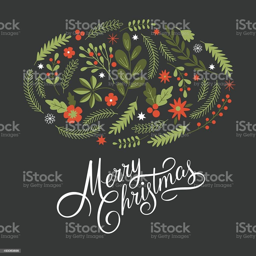 lettering Merry Christmas vector art illustration