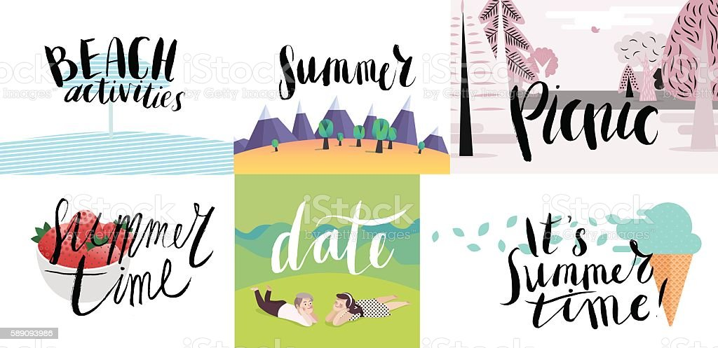 Lettering on beach, picnic, vacation and summer vector art illustration