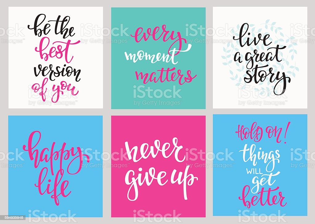 Lettering postcard quotes set vector art illustration