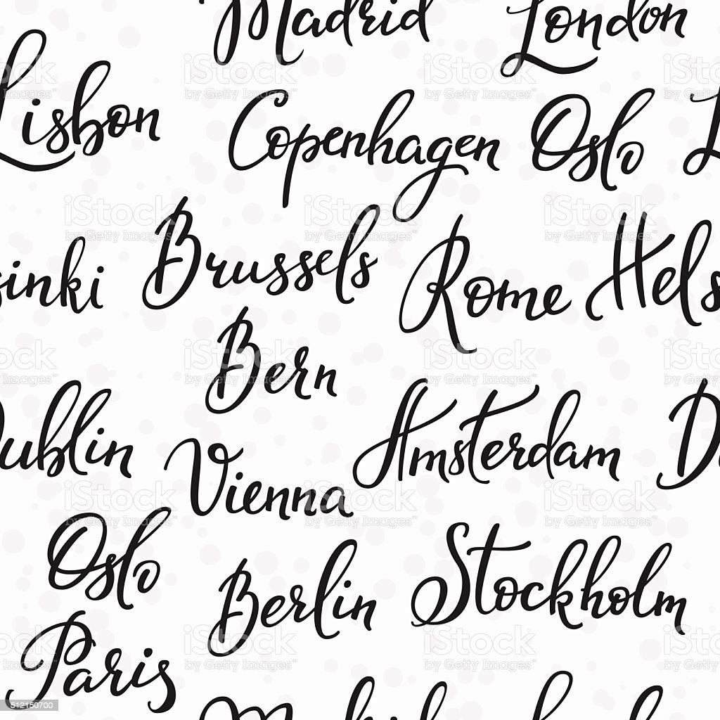 Lettering seamless pattern europe capitals vector art illustration