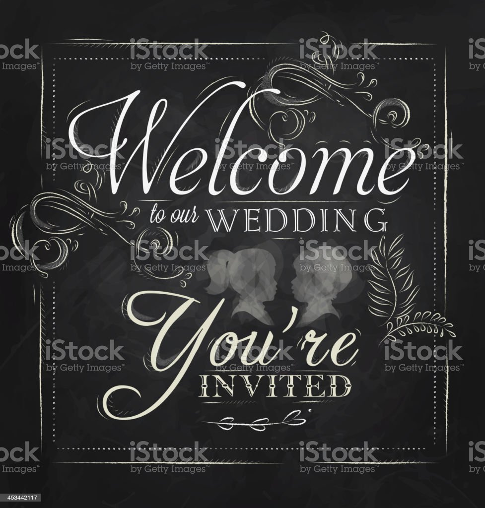 Lettering Welcome to our wedding coal royalty-free stock vector art