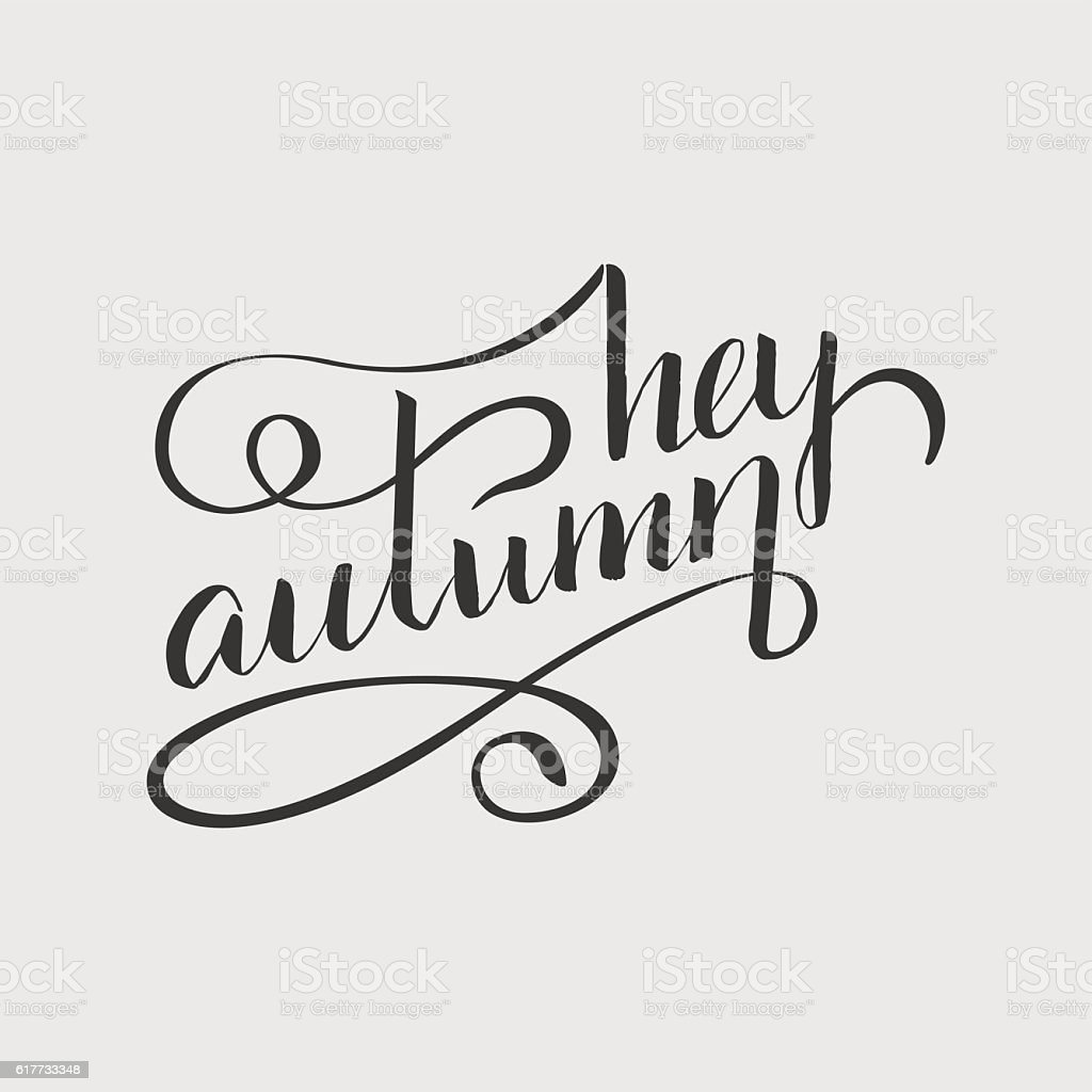 lettering_hey_autumn vector art illustration