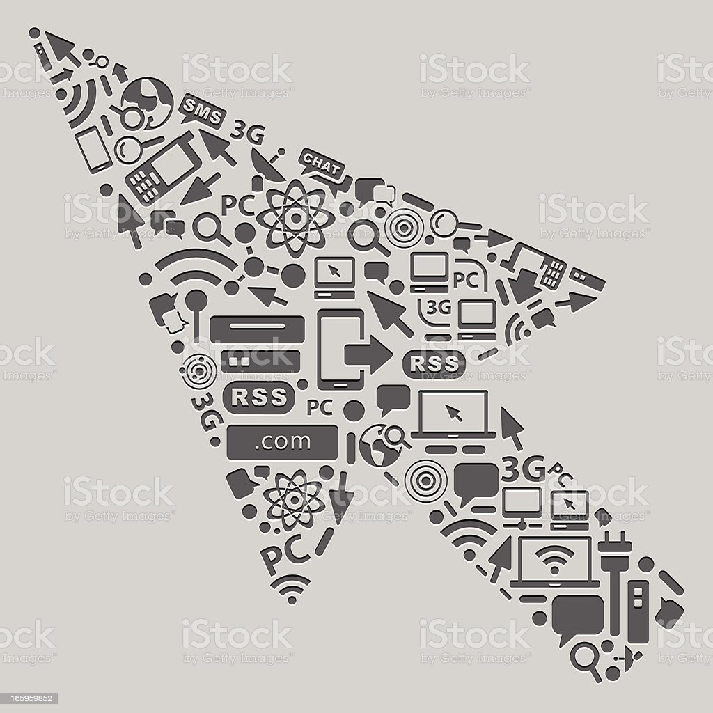 Letterpress Cursor with tech icons royalty-free stock vector art