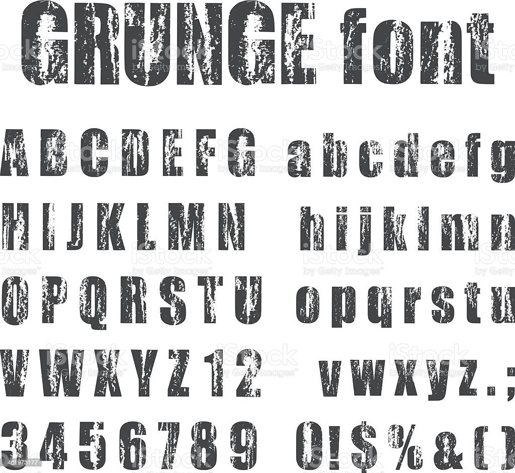 Letterpress grunge alphabets vector art illustration