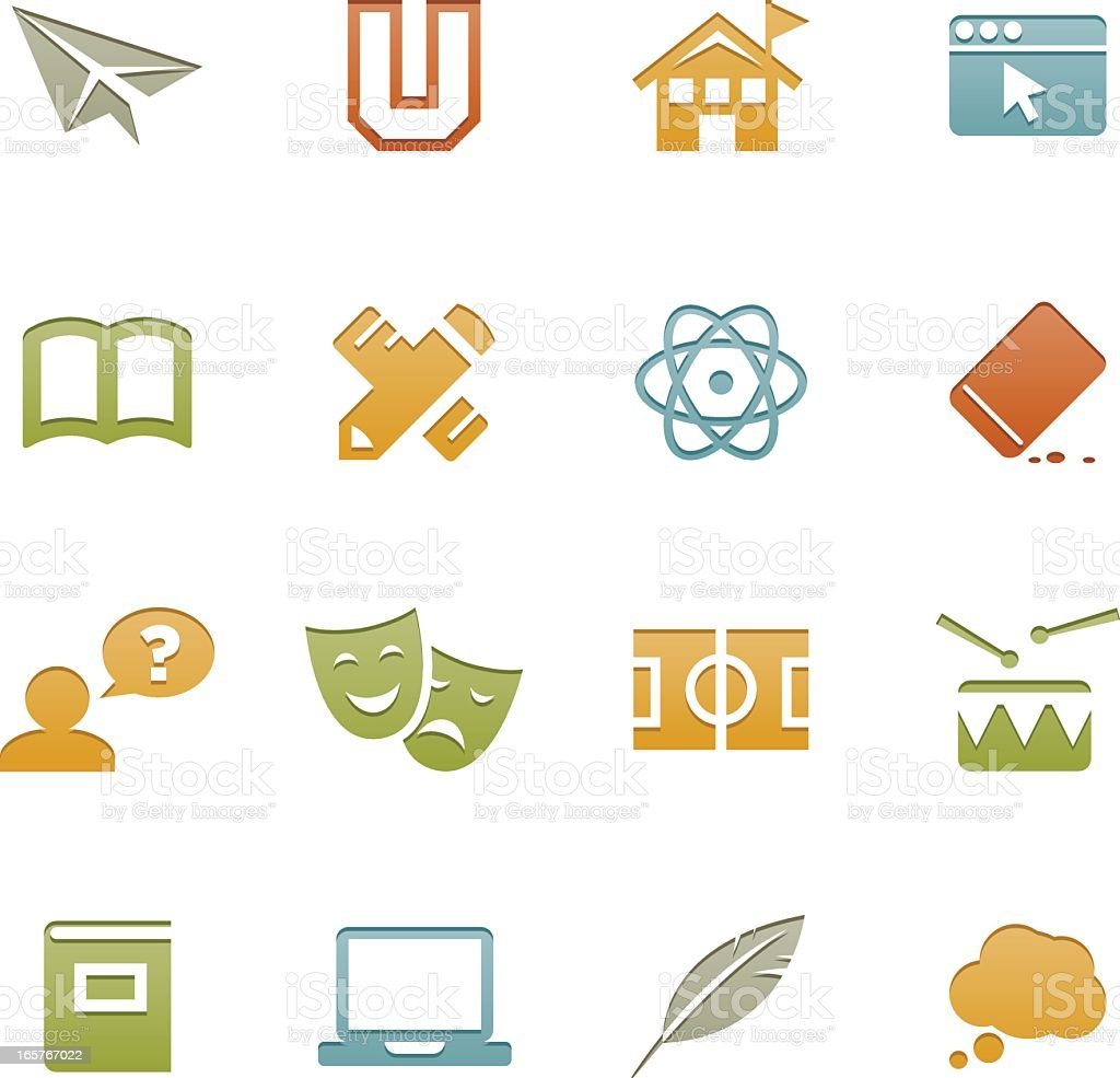 Letterpress Series art icons with an education theme royalty-free stock vector art