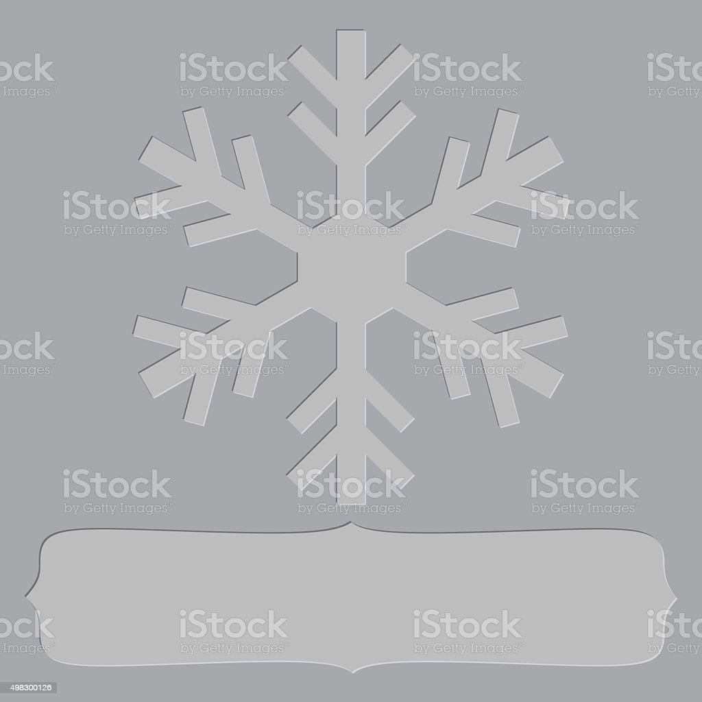 Letterpress snowflake frame vector art illustration