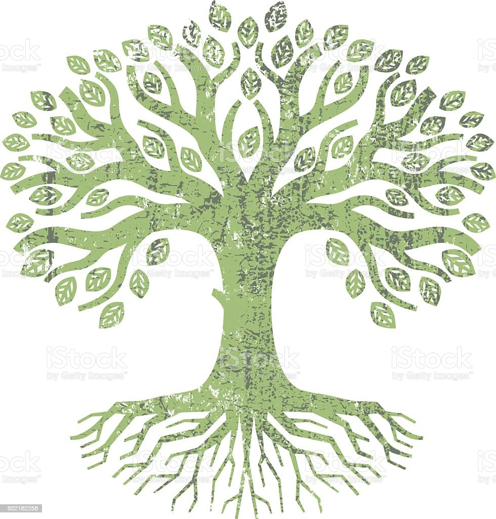 Letterpress tree illustration vector art illustration