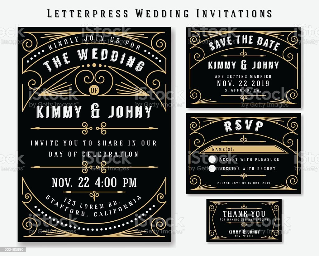 Letterpress Wedding Invitation Design Templat vector art illustration