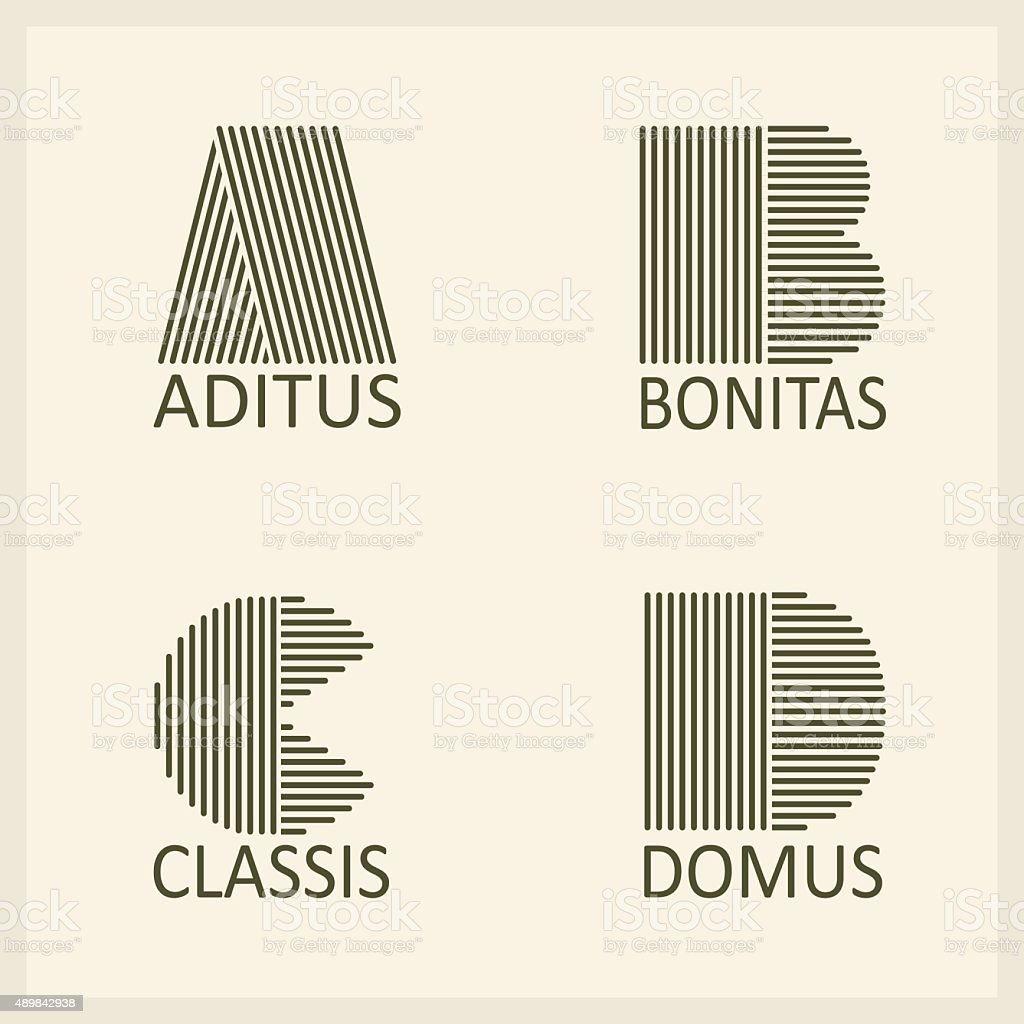 Letters A, B, C, D. Templates for logos, emblems , monographs vector art illustration