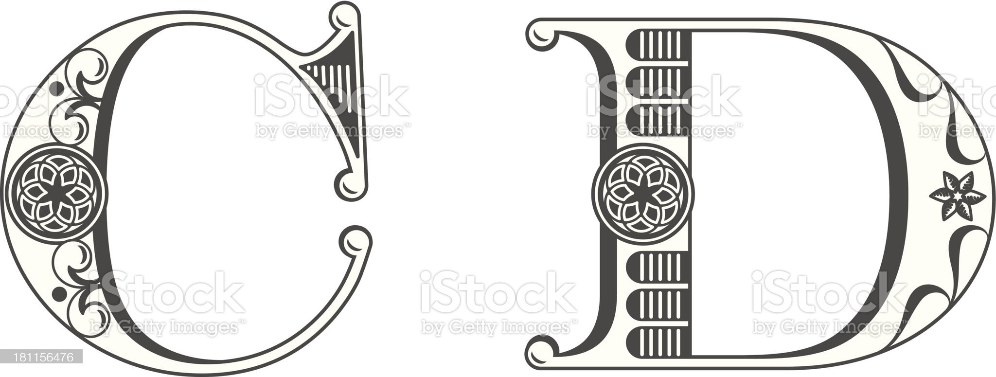Letters C and D royalty-free stock vector art