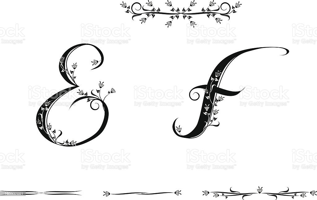 Letters E and F royalty-free stock vector art