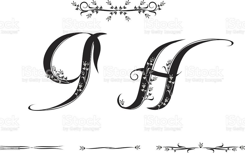Letters G and H royalty-free stock vector art