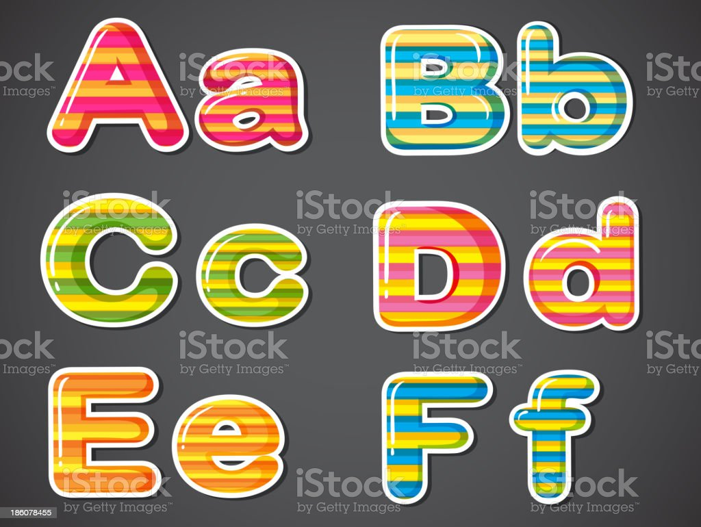 Letters in stripe colors royalty-free stock vector art