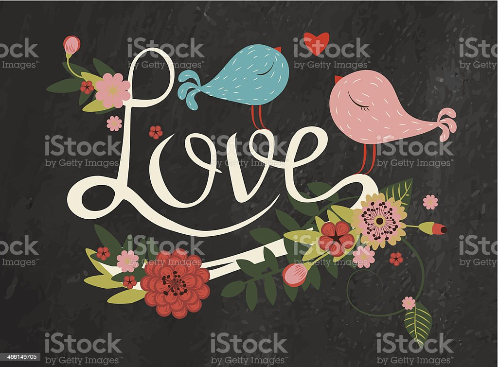 letters love with floral decor and bird vector art illustration
