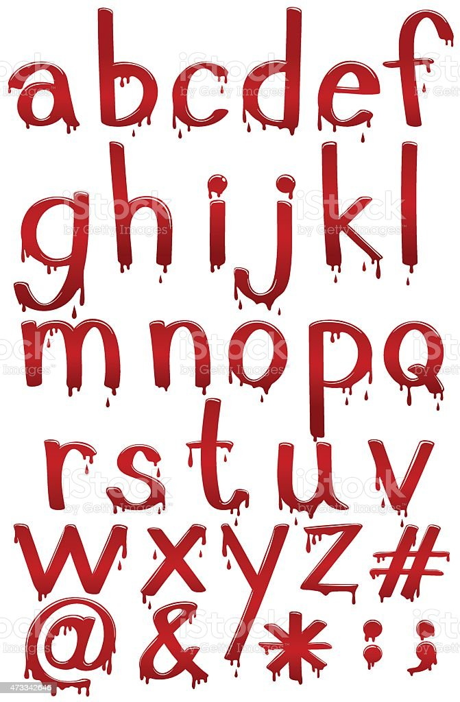 Letters of the alphabet in bloody template vector art illustration