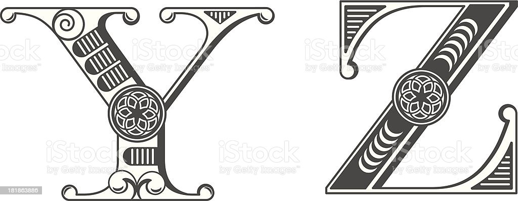 Letters Y and Z royalty-free stock vector art