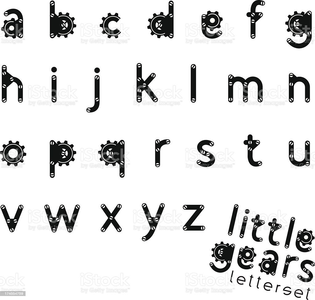 letterset LITTLE GEARS royalty-free stock vector art