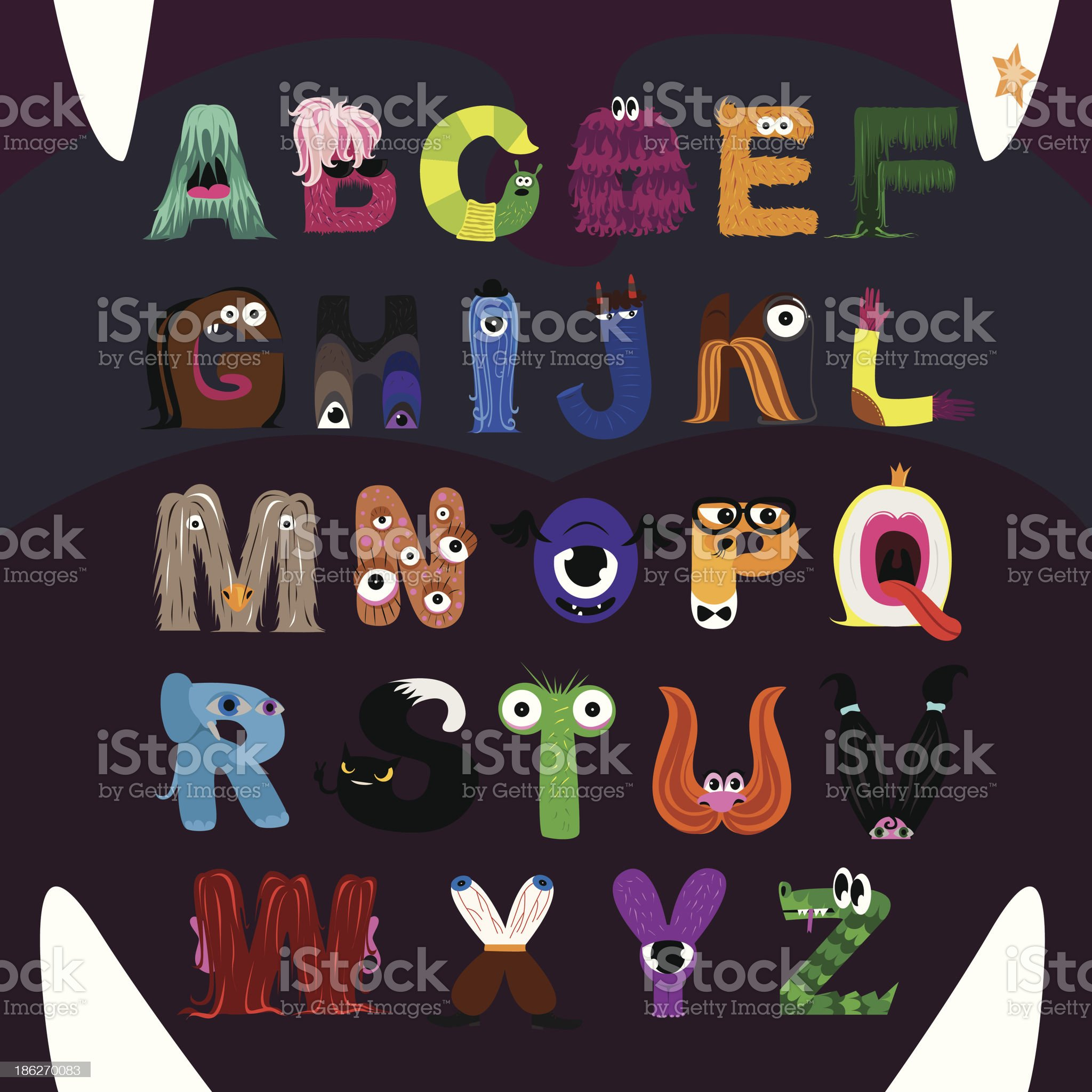 Letters-Monsters Alphabet royalty-free stock vector art
