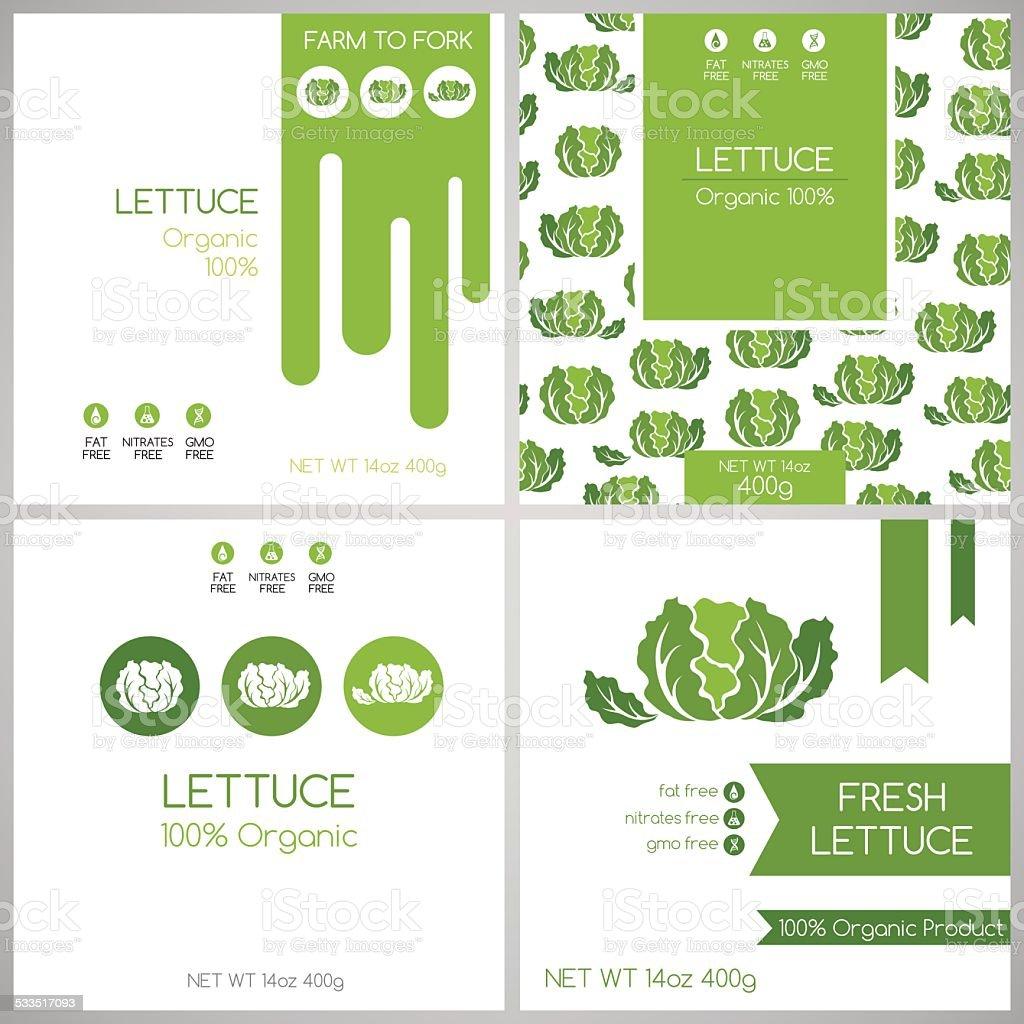 Lettuce labels set. vector art illustration