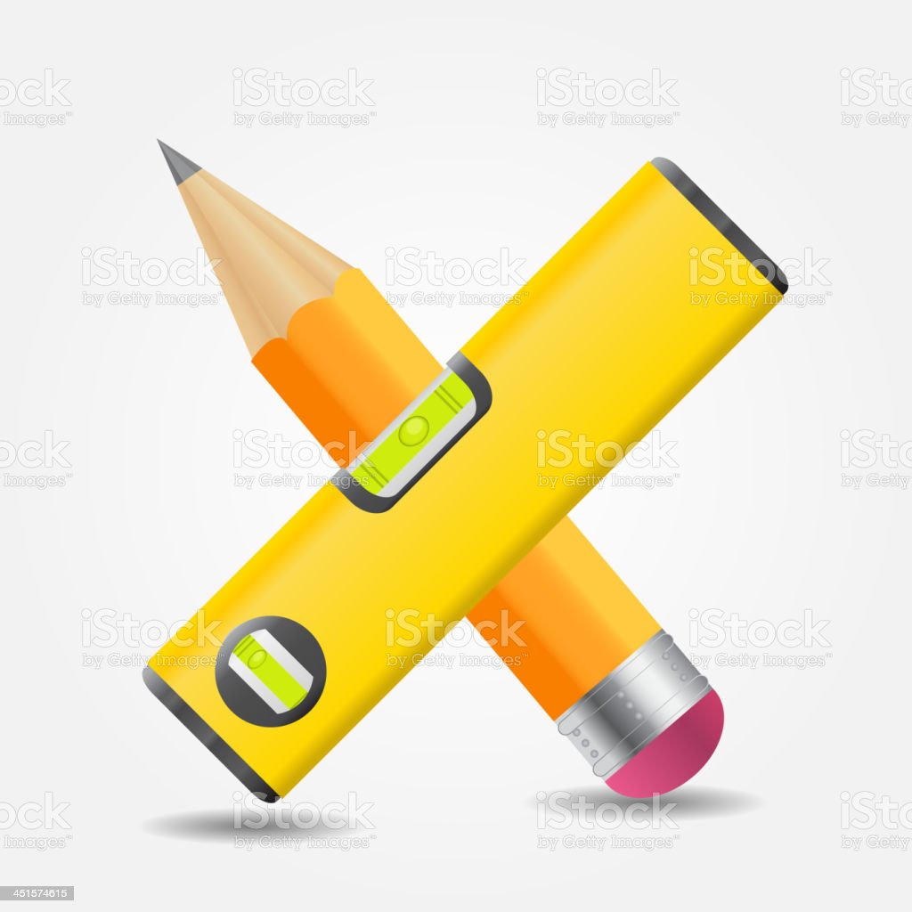 Level and yellow pencil icon vector illustration royalty-free stock vector art
