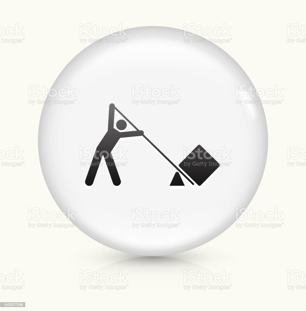 leverage Lifting icon on white round vector button vector art illustration