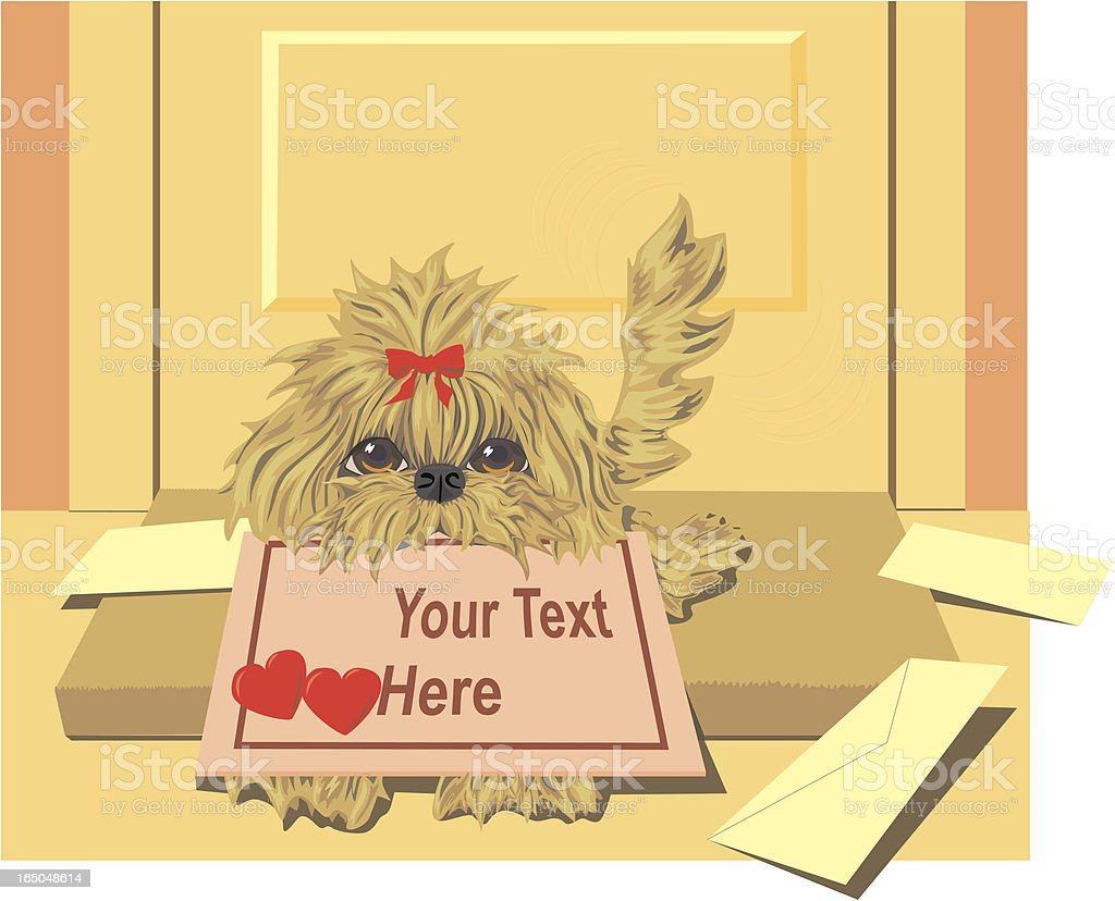 Lhasa Apso Puppy with Valentine Delivery royalty-free stock vector art