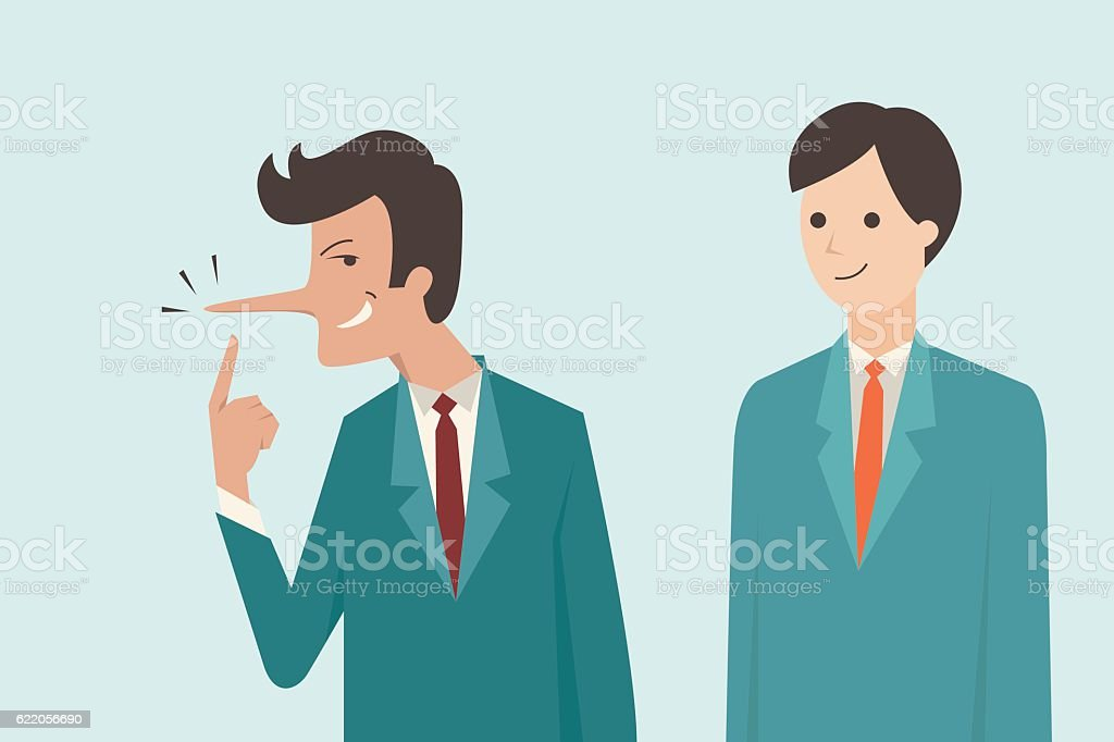 Liar businessman vector art illustration