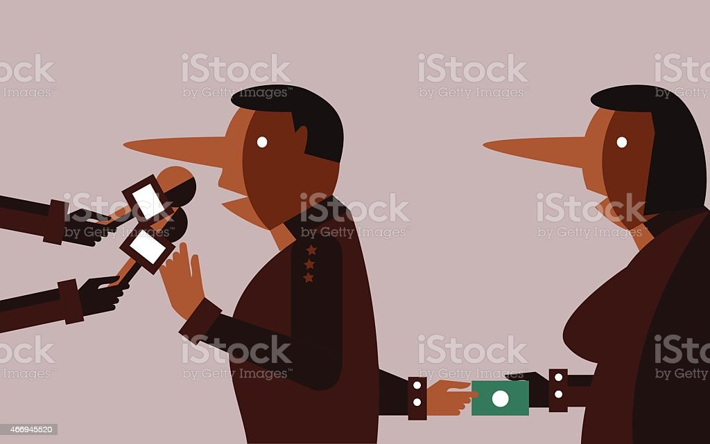 liar people interviewing and hand receiving bribes. vector art illustration