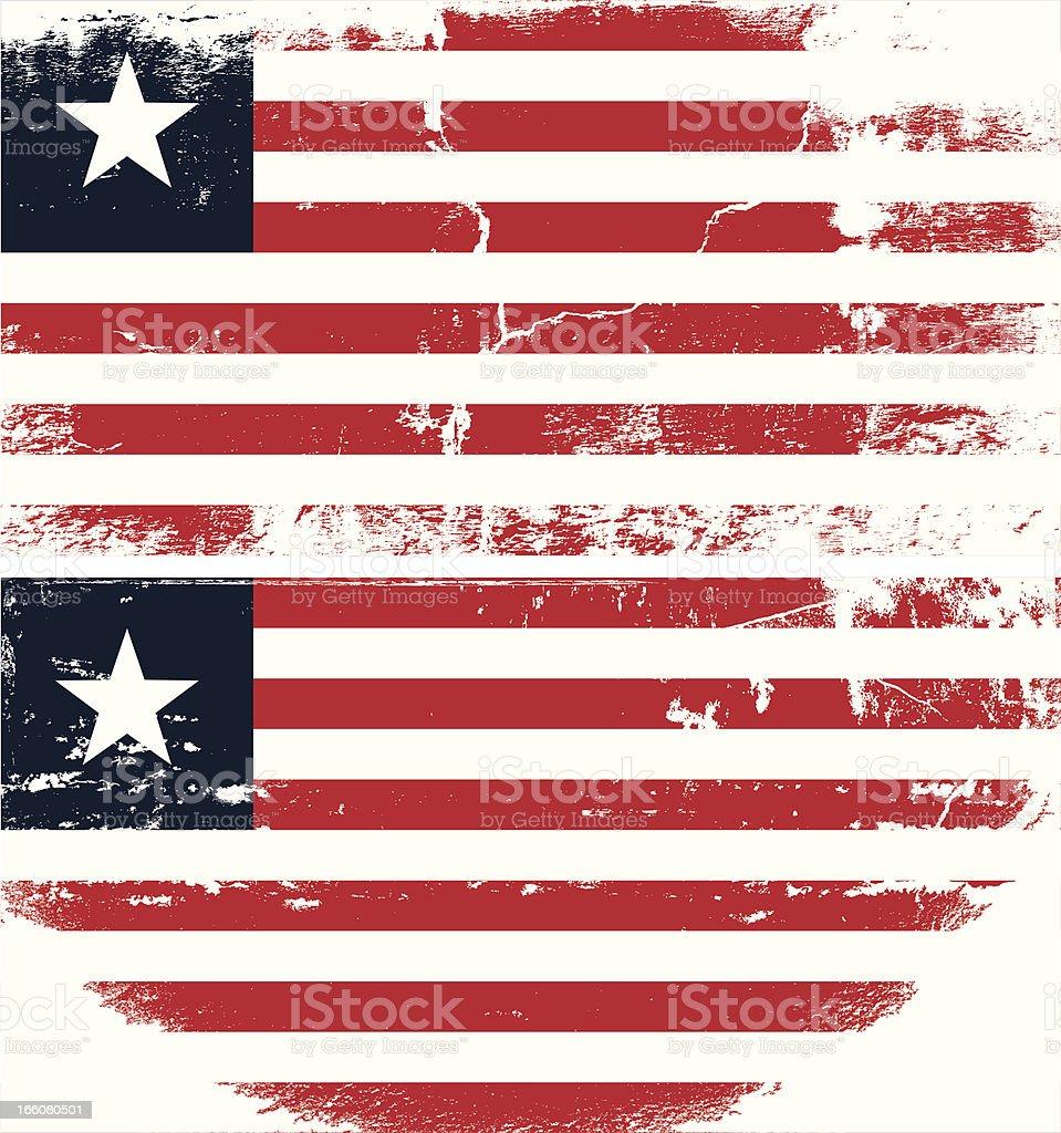Liberia Grunge flag vector art illustration