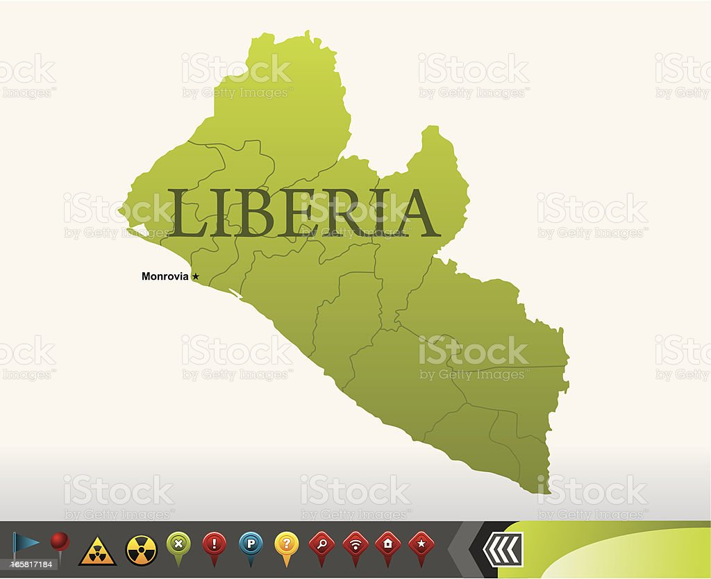 Liberia map with navigation icons vector art illustration