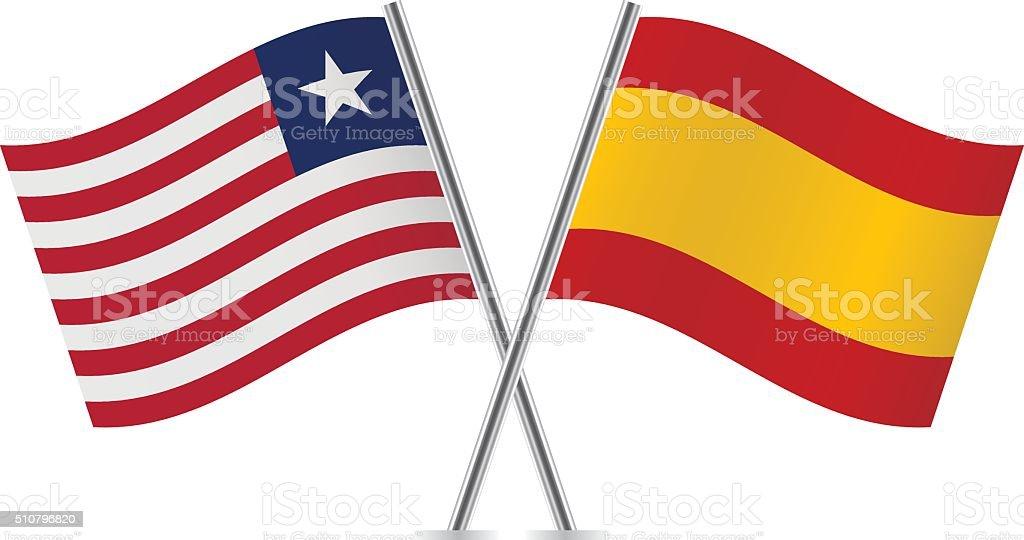 Liberian and Spanish flags. Vector. vector art illustration
