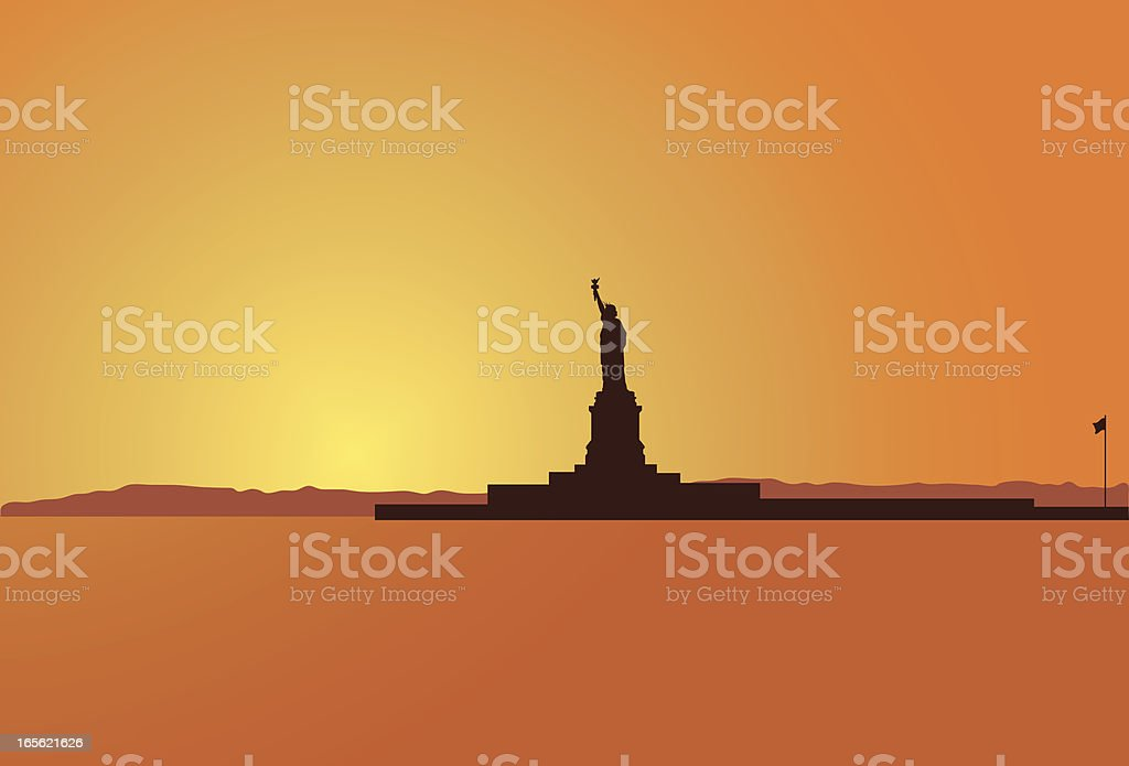 Liberty Island vector art illustration