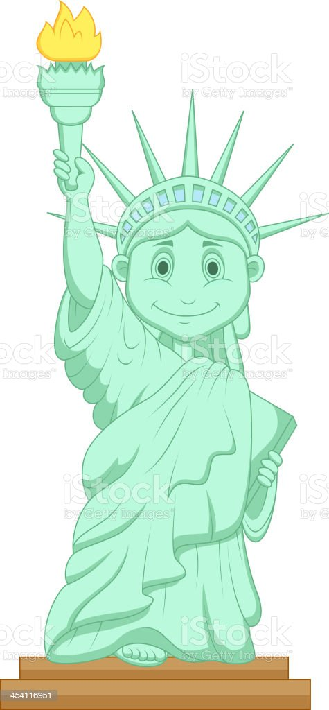 Liberty statue cartoon vector art illustration
