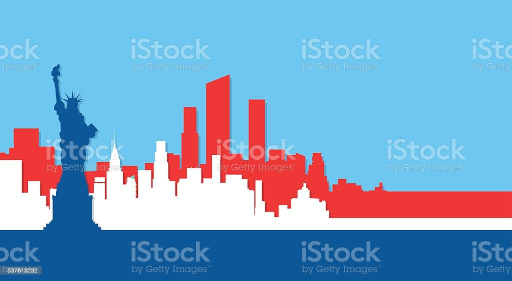 Liberty Statue Silhouette United States New York City View vector art illustration