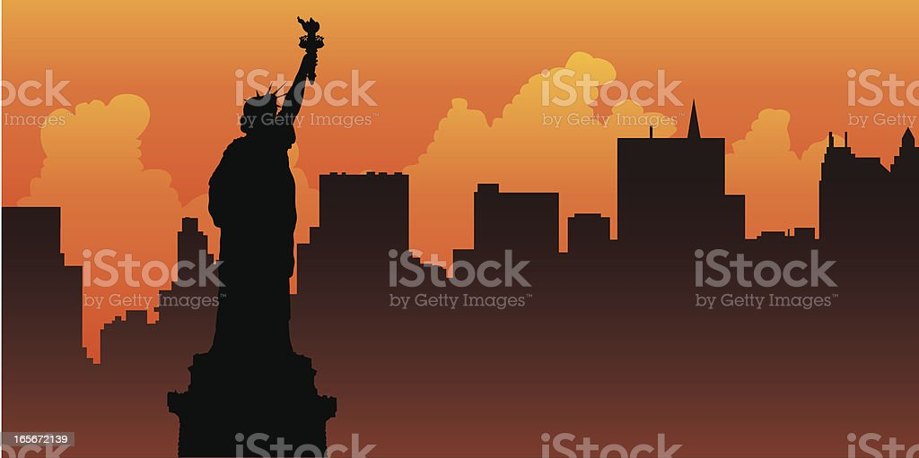 Liberty Sunrise vector art illustration