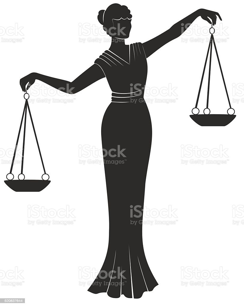libra lady justic.   Equality balance right  fair trial . vector art illustration