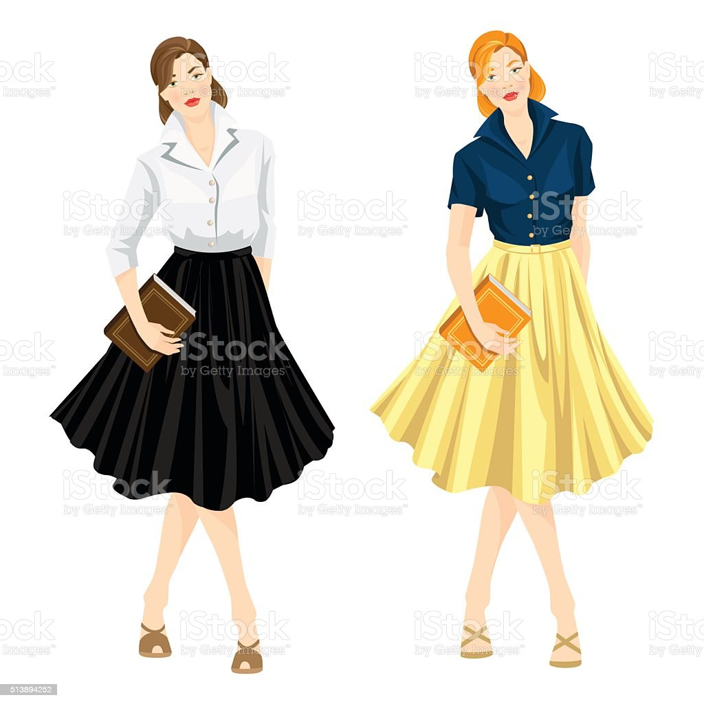 Librarian in sixty style clothes hold book vector art illustration