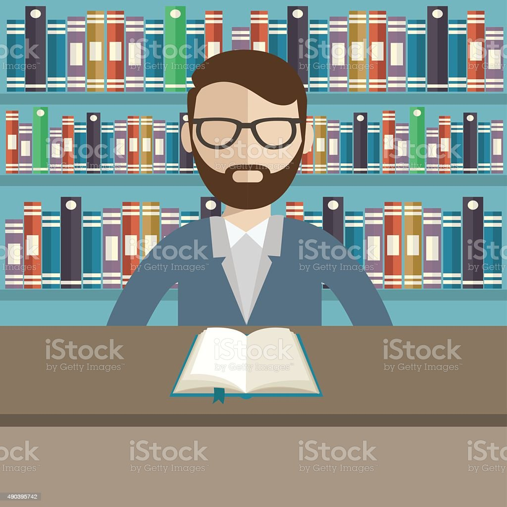 librarian is reading a book in a library. vector art illustration