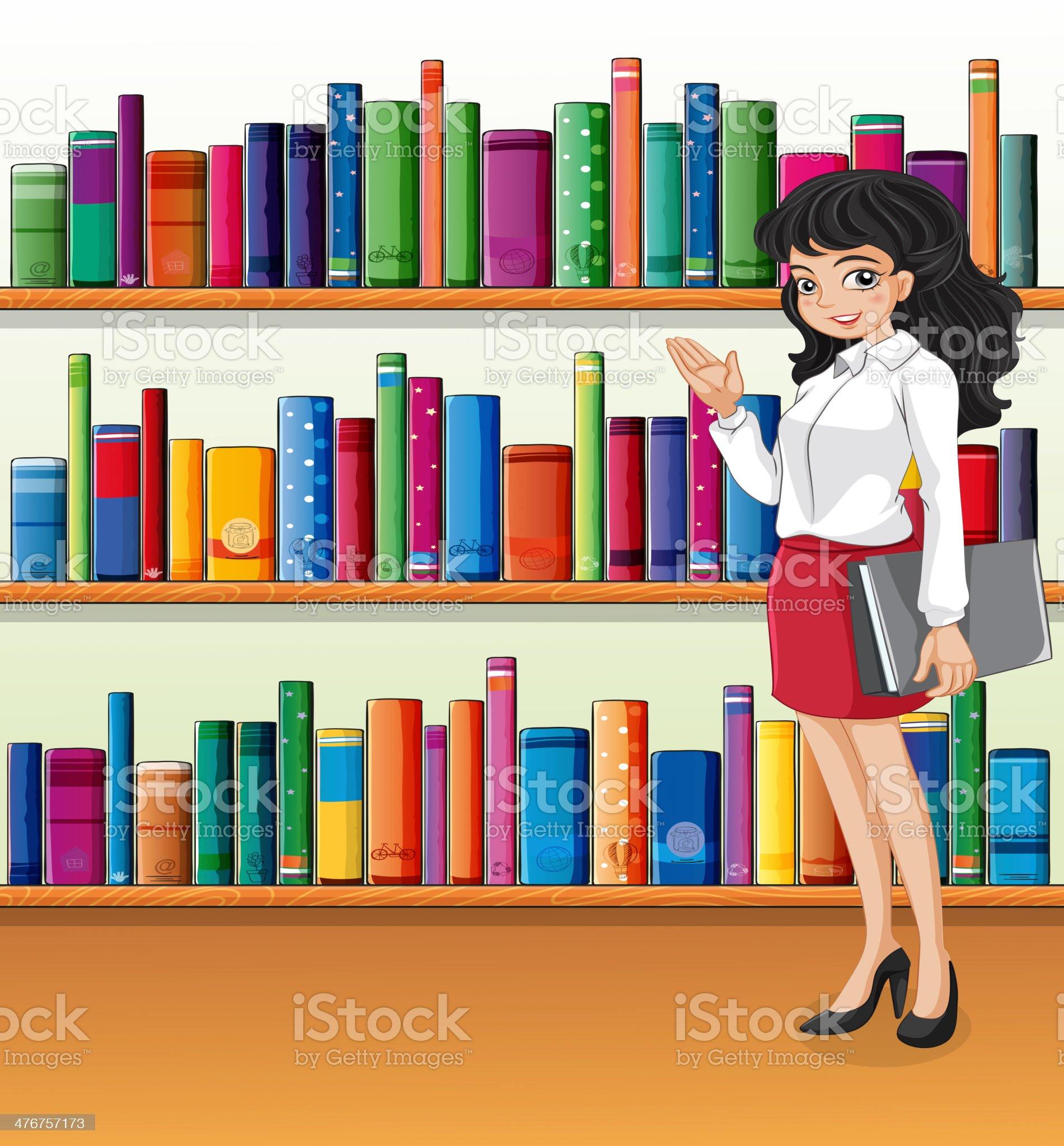Librarian near the bookshelves royalty-free stock vector art