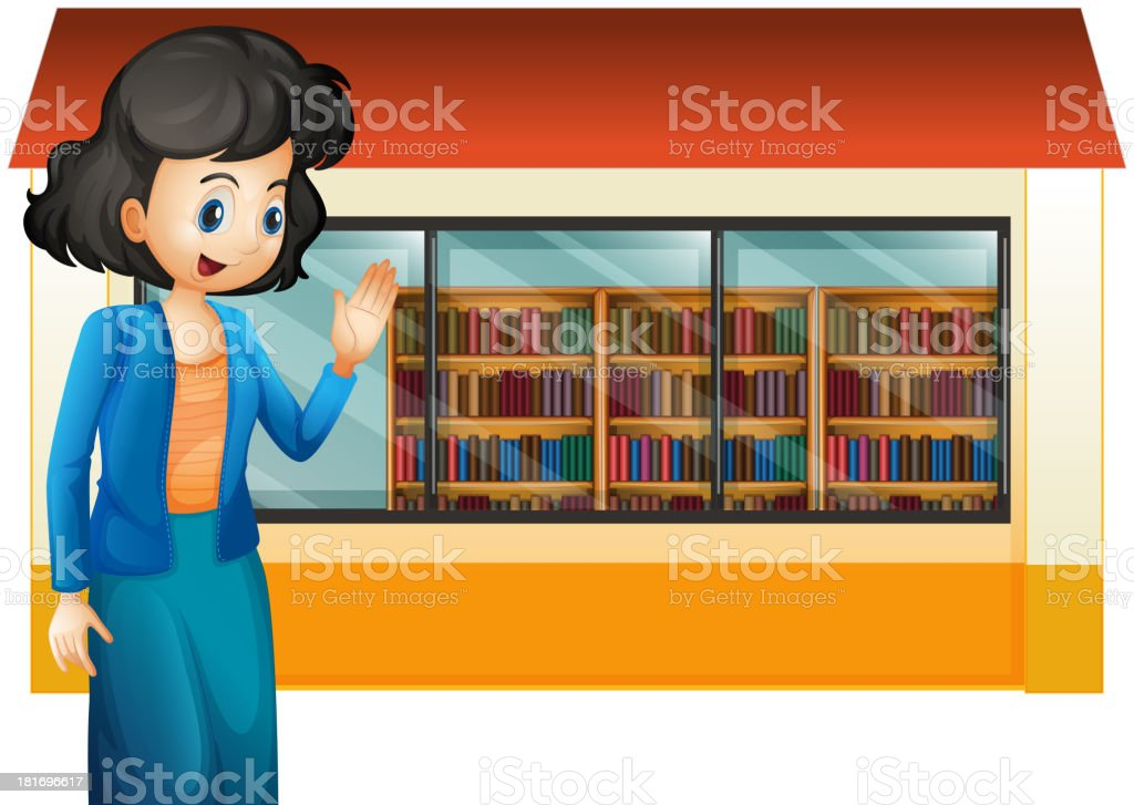 librarian outside the library royalty-free stock vector art